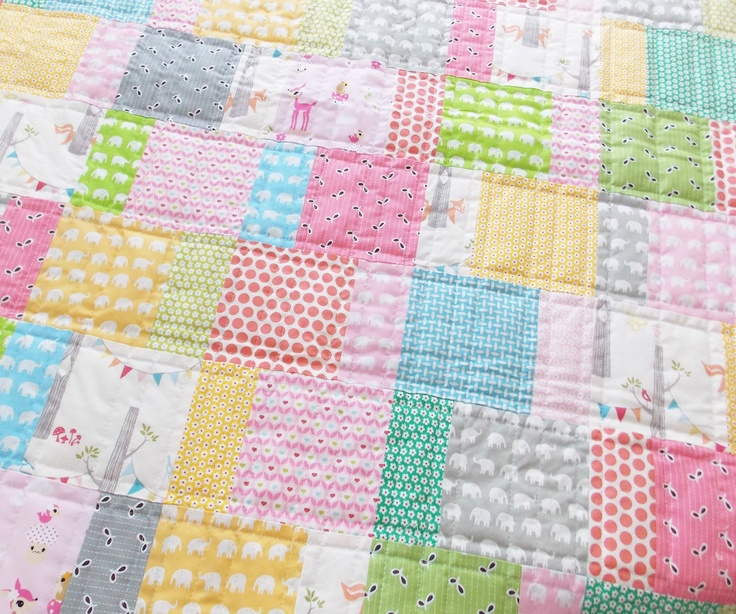 "Baby Quilt Girls Quilt - like this ""strip piecing"" style where the strips are the same size, not all squares."