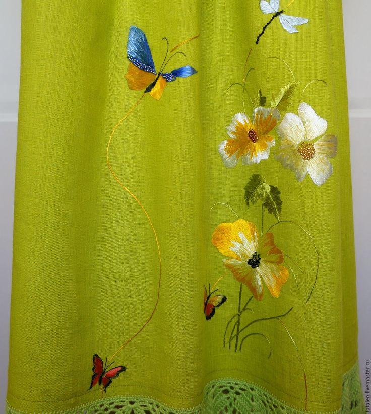 """Купить Платье хлопок-бамбук-лен-шёлк """"Дриада"""" - комбинированный, цветочный, авторская ручная работа"""