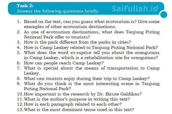 Kunci Jawaban Soal Bahas Inggris Chapter 4 Task 2 Halaman 54 Inggris Halaman Parks