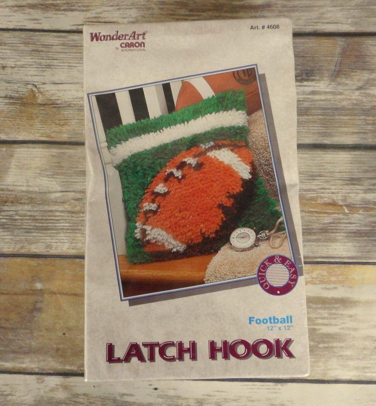Vintage Football Latch Hook Kit WonderArt Caron Sports Green Brown Kids Room NEW #Caron