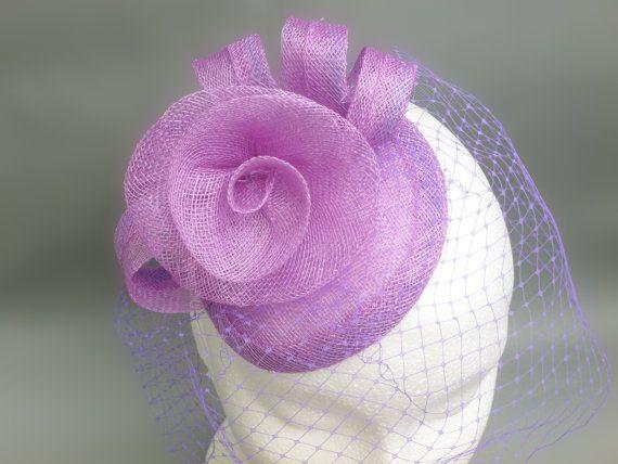 Purple Fascinator Veil Cocktail Hat. Sinamay by SophieShields