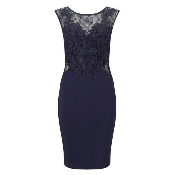Lipsy Love Michelle Keegan Lace Applique Bodycon Dress (5,755 INR) ❤ liked on Polyvore featuring dresses, blue dress, blue lace dress, lace bodycon dress, body con dresses and lace dress