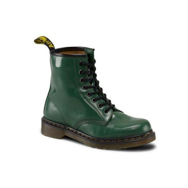 Dr. Martens Broken-in 1460 Lace Low Boot ($130) ❤ liked on Polyvore featuring shoes, boots, ankle booties, green, green boots, lace booties, low ankle booties, low booties y dr martens boots