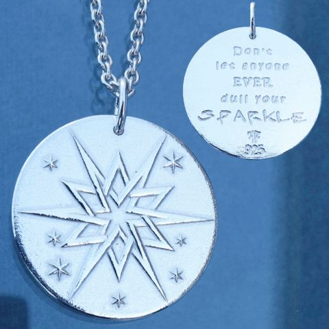 """""""Don't let anyone EVER dull your sparkle!"""" A reminder to your self or someone you care about to take care of themselves, to not let anyone pull you/them down. Made out of solid sterling silver, and available in different variants such as oxidized or gold plated. Made in Norway, available at www.illuumi.no  #proverb #inspirationalquotes #inspiration #quotes #gift #amulet #silver #sølv #inspirasjon #amulett #gave #smykke #ordtak #Star #sparkle"""