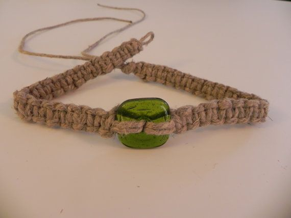 Thick Hemp Necklace with Square Green Glass Bead