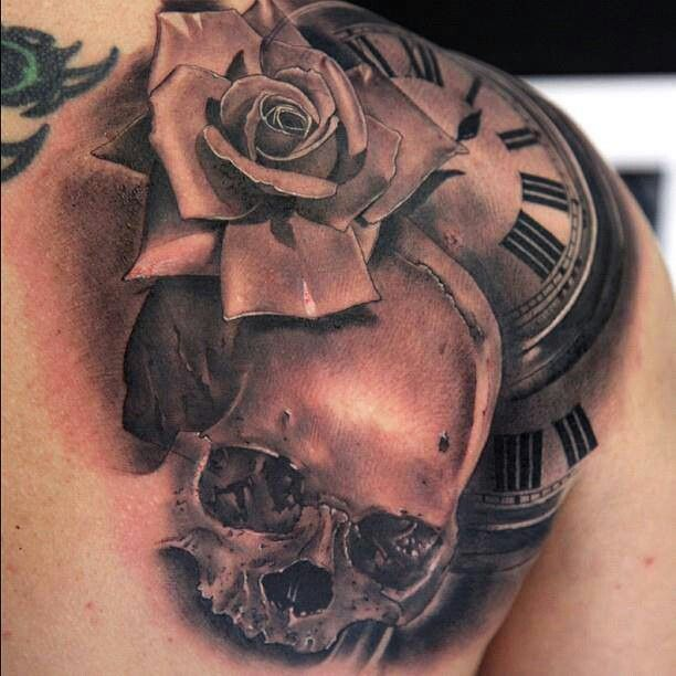 Skull rose clock tattoo