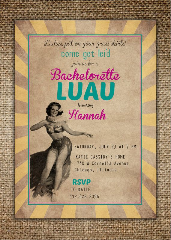Bachelorette Party/Hen's Night Invitation  Luau by BrownDogPress, $18.00