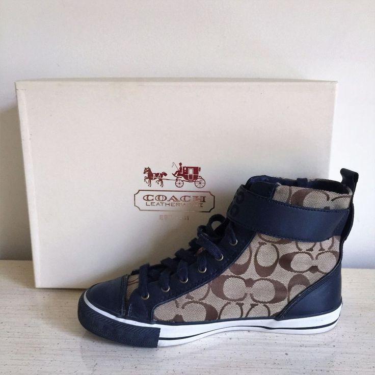Coach Women's Foster Signature High Top Fashion Sneakers, Shoes Khaki/Navy SZ 7 #Coach #FashionSneakers