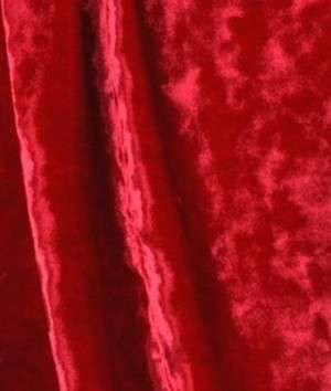 Red Crushed Stretch Velvet Fabric FOR SKIRT LONG WITH WIDE WAISTLINE BOW