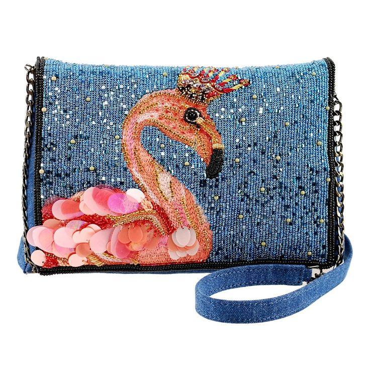 Queen Flamingo Embellished Denim Crossbody Novelty Handbag Designer Embellished Handbags