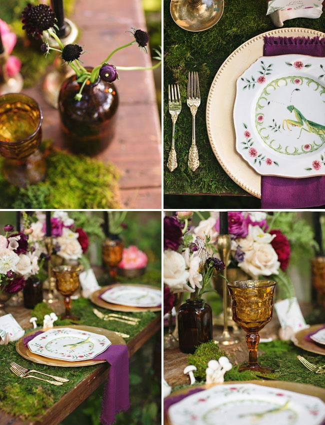 Find wedding inspiration by this enchanted forest wedding theme with green and plum accents.