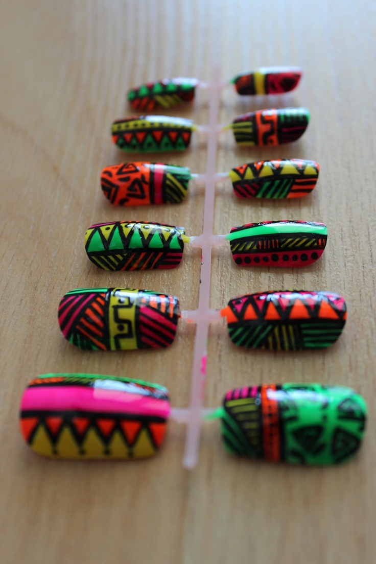 Bright Neon Tribal / Aztec/ African Press On Nail Set. $23.50, via Etsy.