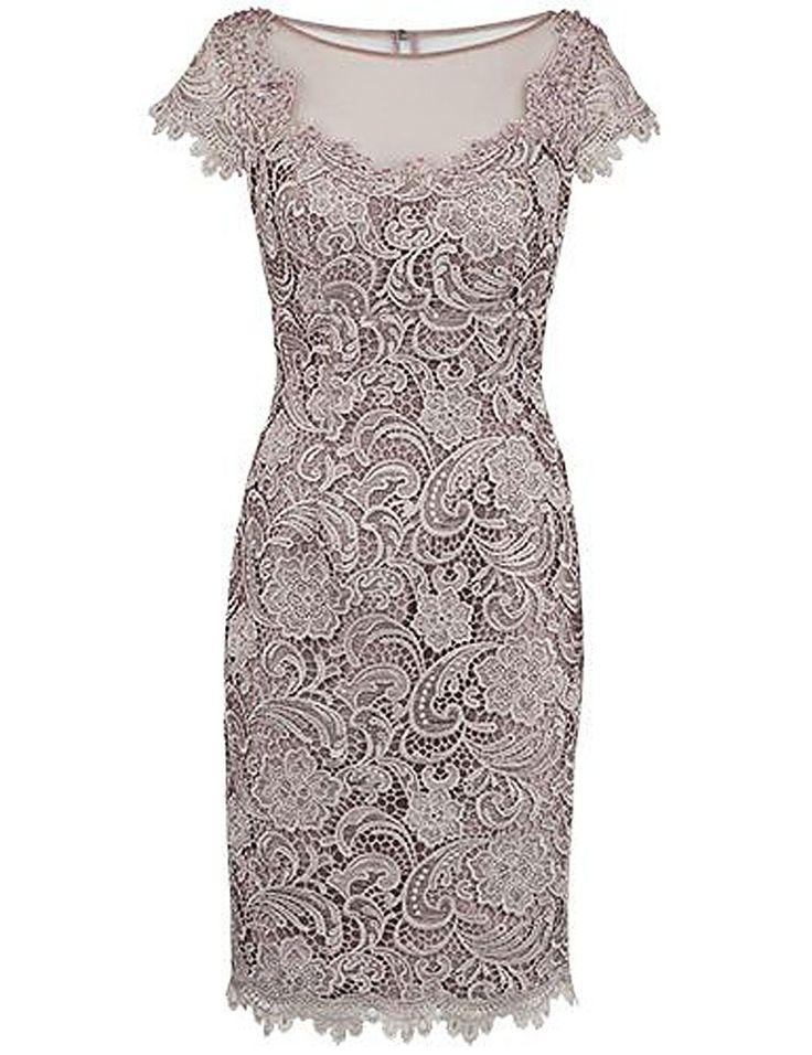 Mantel Bateau Sicke graue Spitze Kleid für die Brautmutter mit Flügelärmeln