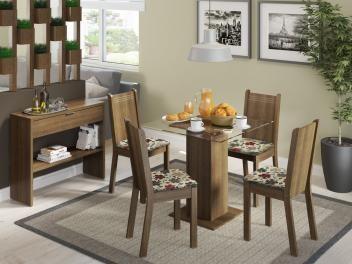 Conjunto de Mesa Madeira com 4 Cadeiras Estofadas - Madesa Dallas