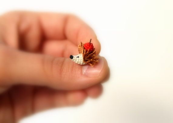Micro Mini Hedgehog Crochet Hedgehog Tiny by PinkMouseBoutique