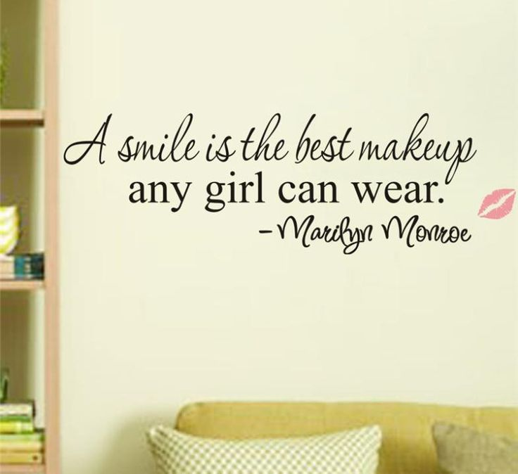 A Smile Is The Best Makeup Any Girl Can Wear Wall Quote Decal //Price: $ 9.95 & FREE shipping //  #interiordesign #interior #walldecal #wallsticker #wallstickermurah #decor #walldecor #walldecals #homedecor #wallart #design #decor #wallstargraphics