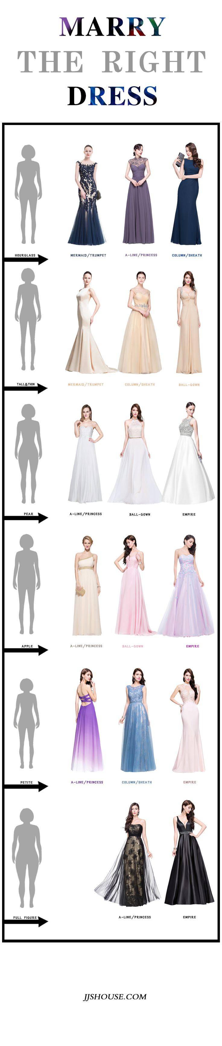 Marry the right dress! Choose the perfect dress according to your bodytype, you will get double the result by doing half the work.