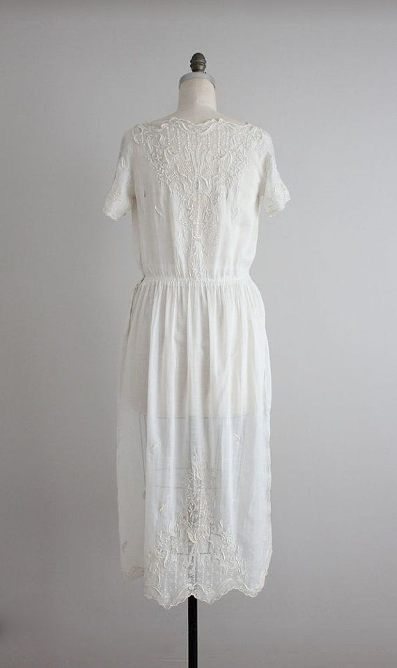1920s dress / embroidered white silk dress / 1910s by allencompany