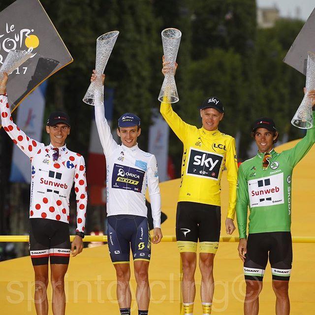 Final podium Tour de France 2017 Warren Barguil, Simon Yates, Chris Froome and Michael Matthews photo @lucabettini87