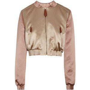 Burberry Prorsum Cropped satin bomber jacket