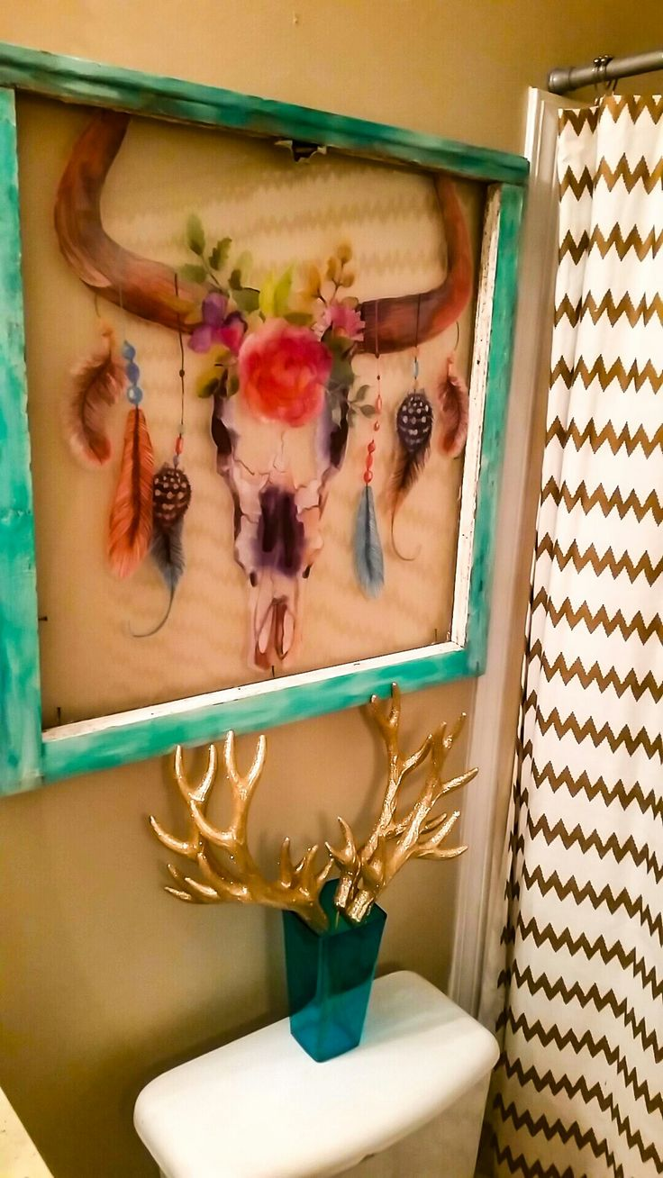 @RUSTICGYPSYSOUL. Rustic old chippy window with deer decal and distressed with 2 shades of turquoise