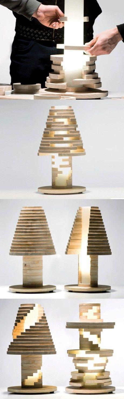 Creative table lamp design 3-1 #Lamp, #Light, #Wood