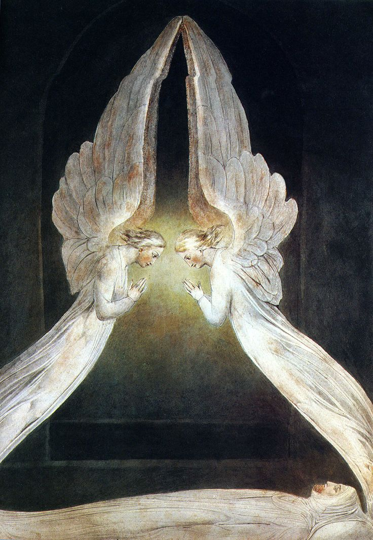 "Christ In The Sepulcher Guarded by Angels.... William Blake. Exodus 25:22, ""And there I will meet with you; and from above the Mercy Seat, from between the two cherubim which are upon the ark of the testimony, I will speak to you about all that I will give you in commandment for the sons of Israel."" God's Word is fulfilled in Christ."