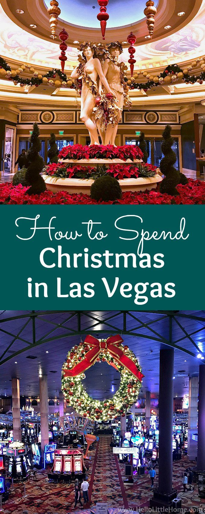 How to Spend Christmas in Las Vegas! Will you be in Las Vegas for the holidays and are wondering what to do? These are the best things to do in Las Vegas at Christmas time, in November or December. Enjoy lots pictures of Las Vegas Christmas decorations from trees to lights at the different casinos on the Las Vegas Strip, plus many Las Vegas tips: how to see it all, where to eat, where to shop, where to stay + more! | Hello Little Home #LasVegas #thingstodoinlasvegas #christmasinlasvegas…