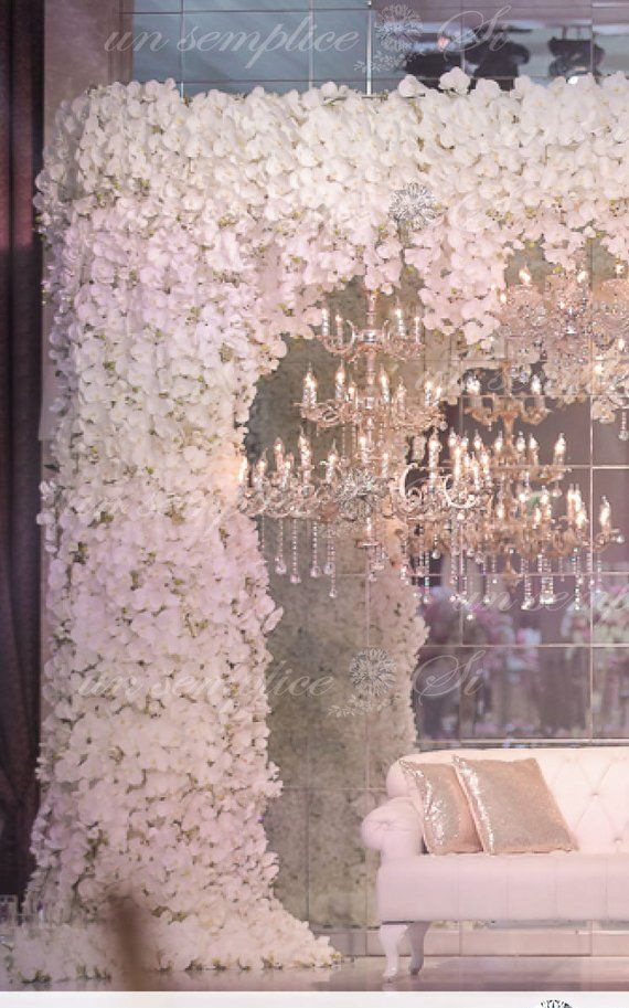 White Orchid Flower Canopy Silk Flower Garland Hanging Etsy Flower Garlands White Orchids Wedding Backdrop