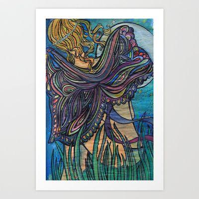Butterfly & the moon Art Print by Valerie Parisius - $17.00 www.valerieparisius.com
