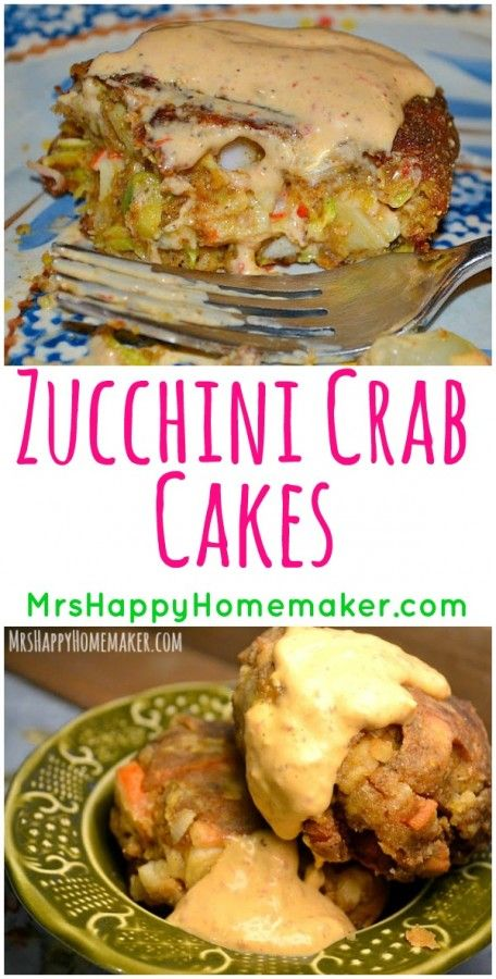 These Zucchini Crab Cakes couldn't get any easier to make or any more delicious to eat. They are a family favorite in my home! | MrsHappyHomemaker.com @thathousewife