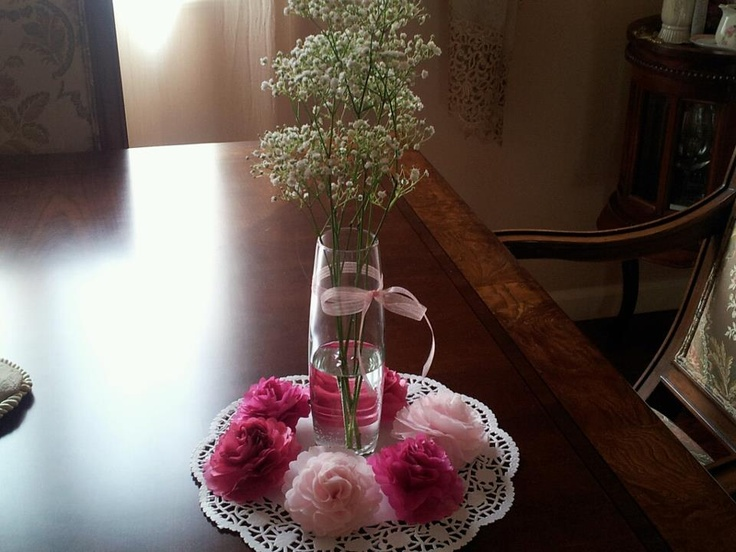 Tissue paper flowers for my nieces communion centerpieces