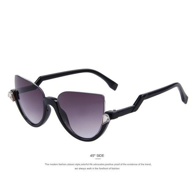 Women Semi-Rimless Frame Z-Shaped Temple Metal Hinges Sun Glasses - UV400