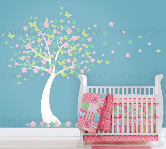 Blowing Cherry Blossom Tree Wall Decal with Butterflies Baby