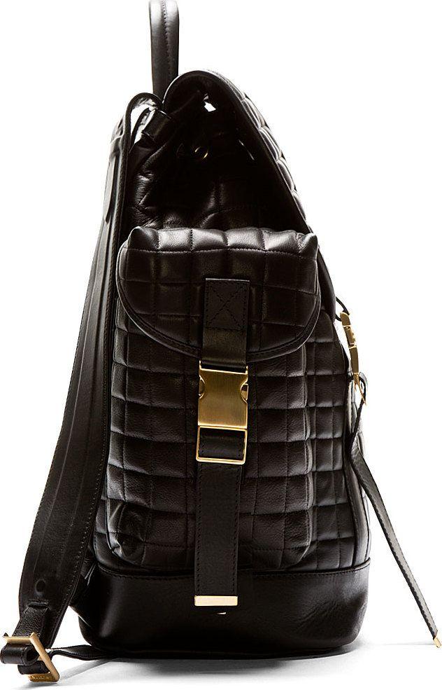 Neil Barrett: Black Quilted Leather Rucksack