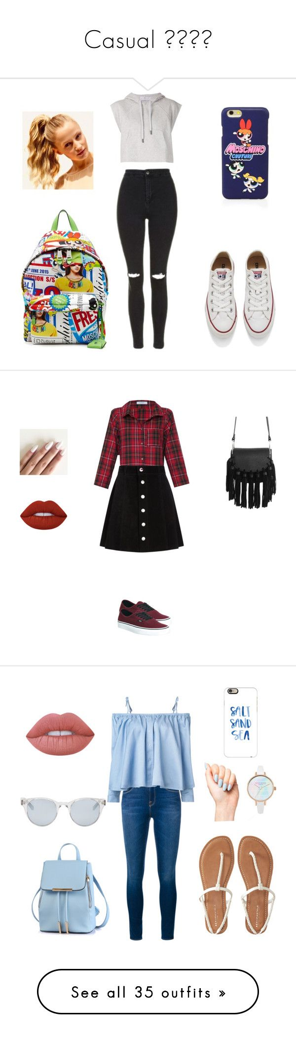"""Casual ✌️"" by cami02 ❤ liked on Polyvore featuring adidas, Topshop, Converse, Moschino, Hershesons, Vitamin, AG Adriano Goldschmied, Vans, Lime Crime and Frame Denim"