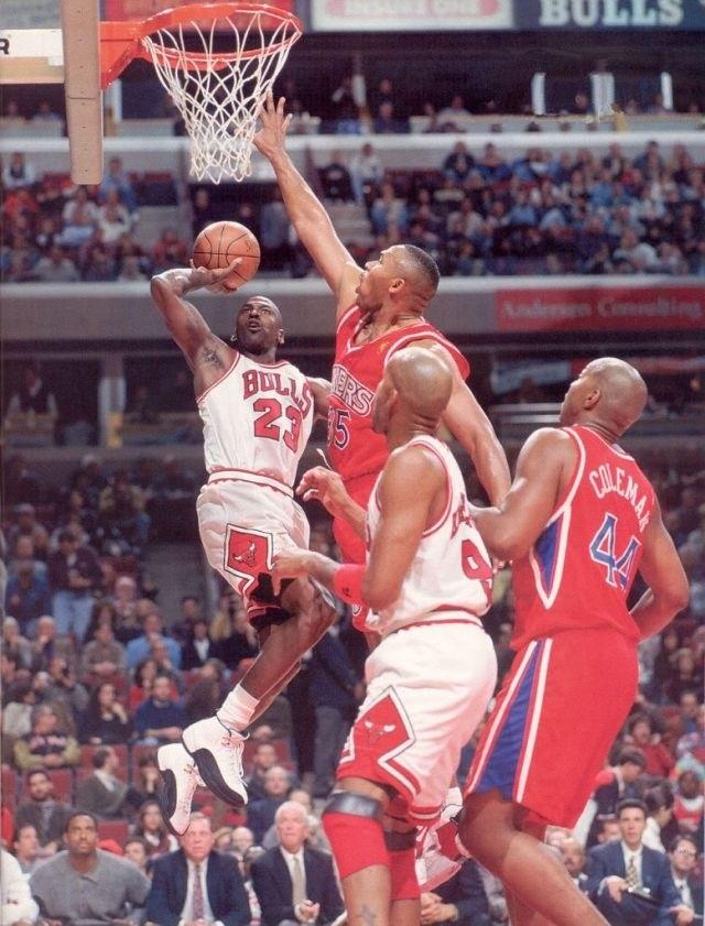 Michael Jordan Chicago Bulls Philadelphia Sixers Derrick Coleman