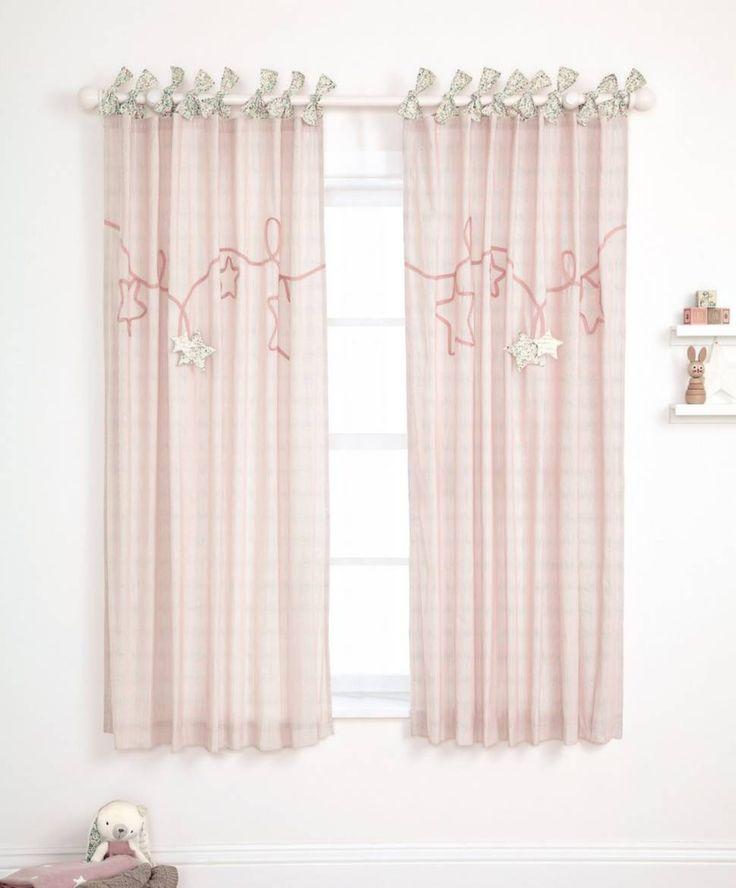 Millie & Boris - Pink Lined Tie Top Curtains - 132 x 160cm | Mamas & Papas