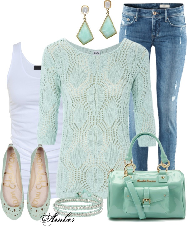 """Casual Mint Outfit"" hottest colors of the season!"