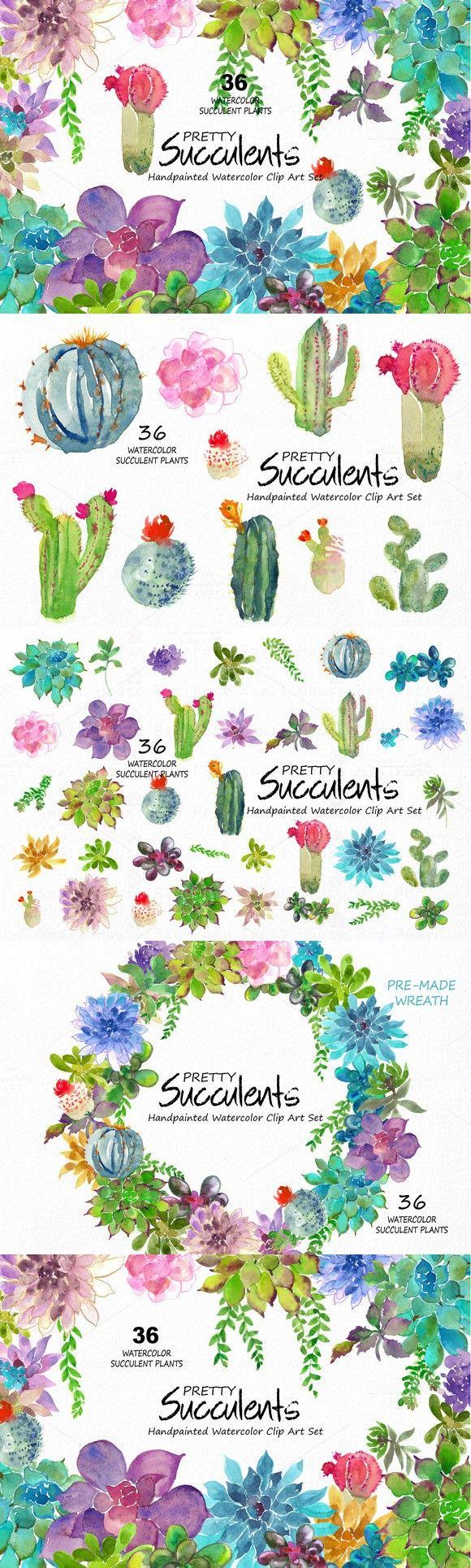 Pretty Succulents- Watercolor. Wedding Fonts. $16.00