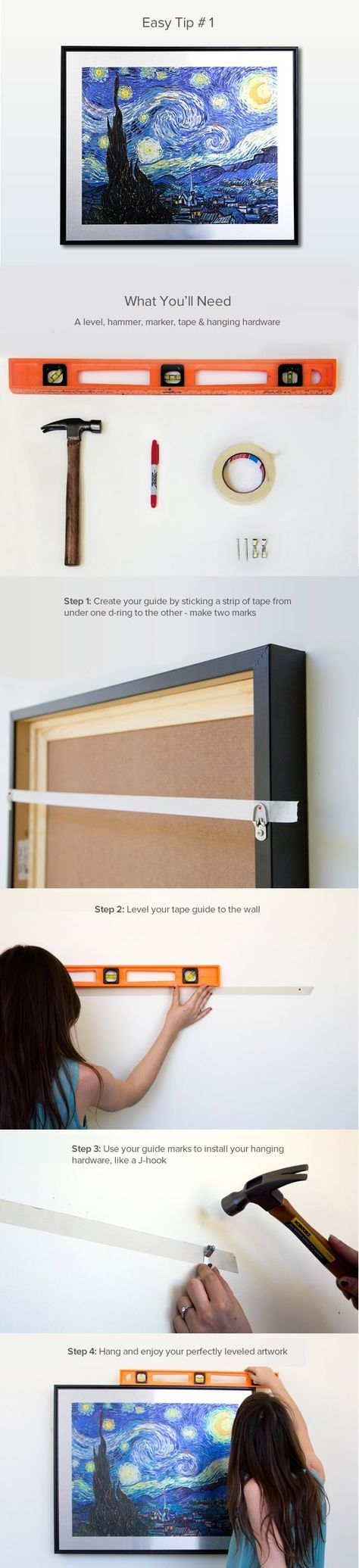 How To Hang Level Art Frames: 4 Easy Steps With Pictures
