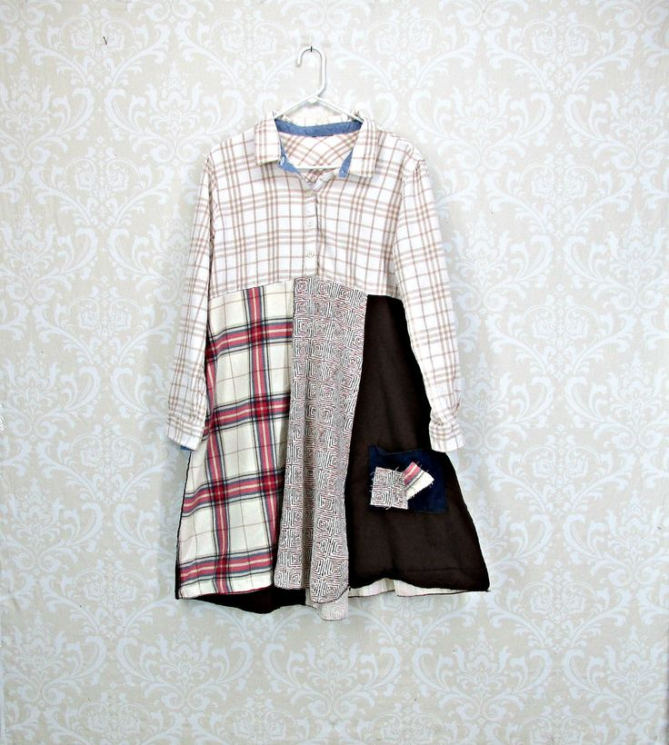 Womens Flannel Dress, Plaid Flannel, Shabby Chic Dress, Mori Girl, Upcycled Dress, Winter Tunic, Boho, Bohemian,by Repurpose Couture by RepurposeCouture on Etsy