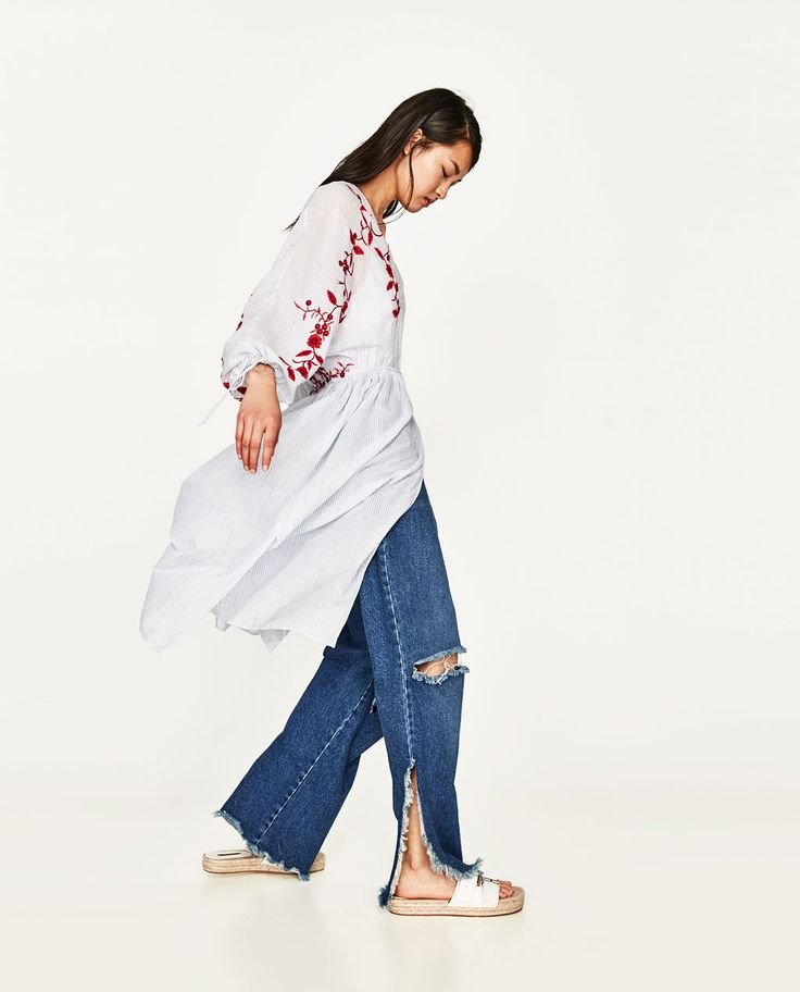 STRIPED DRESS WITH EMBROIDERY-View all-DRESSES-WOMAN | ZARA United Kingdom