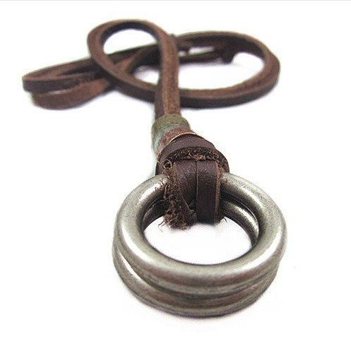 Adjustable leather necklace men necklace metal necklace chain necklace made of brown leather and alloy ring feather necklace