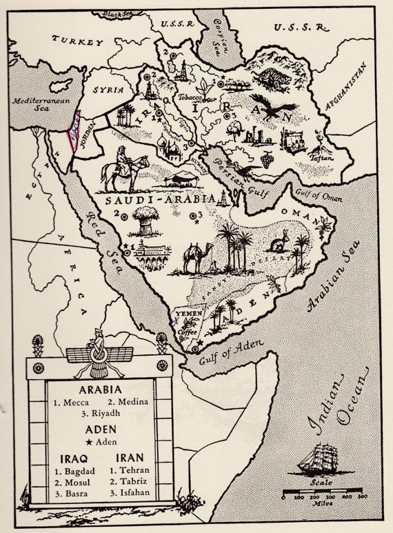 SAUDI ARABIA Map Iraq Map Iran Map WHIMSICAL Vintage 50s Picture Map  3557
