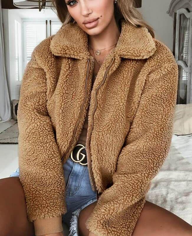 Women Lady Teddy Bear Long Knee Coat Ladies Vintage Faux Fur Jacket Size S-3XL