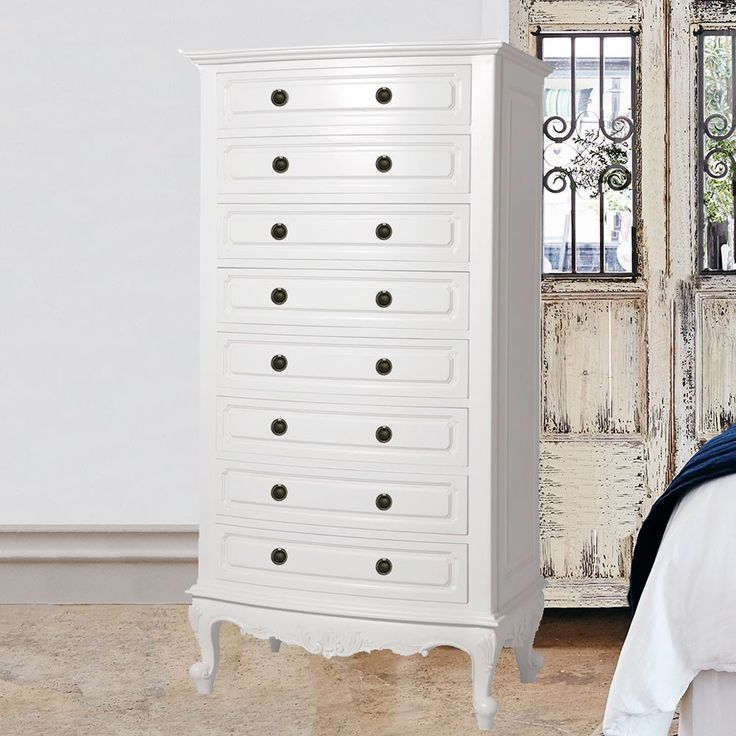 Baroque French Provincial 8 Drawer Tall Boy Chest of Drawers - Available in White, Cream, Black or Walnut Stain