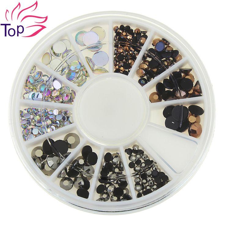 Top Nail 3 Colors 3D Nail Art Rhinestones 4 Sizes Acrylic Diy Glitter 1 Wheel Decorations For Nails ZP239