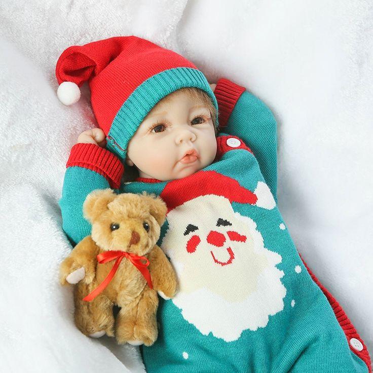 88.84$  Buy here - http://alizap.worldwells.pw/go.php?t=32788400752 - 20 inch soft Silicone Reborn Baby Dolls Handmade Baby newborn  doll nice sweater dressing bebe alive reborn menina bonecas  88.84$