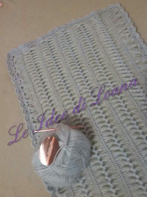 Copertina carrozzina culla in lana moher fatta a mano, tecnica uncinetto a forcella